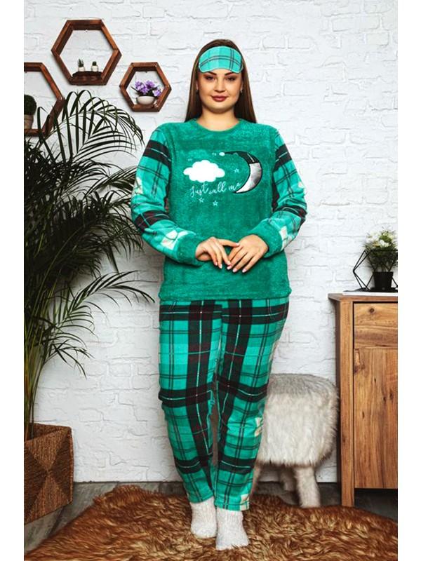 Nisanca Büyük Beden Peluş Polar Kadın Pijama Takımı