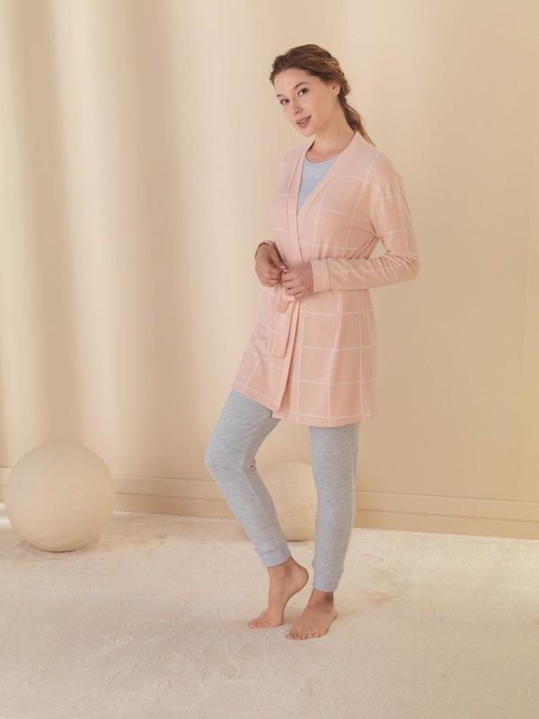 Efsi 1341 Bayan Uzun Kollu 3'lü Pijama Takımı