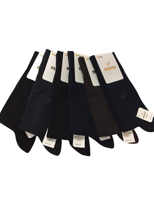 Mısırlı 12 Adet Bambu Düz Erkek Çorap Karışık Renk