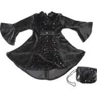 Babyland Çantalı Pullu Siyah Kız Çocuk Elbisesi