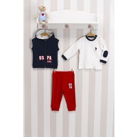 U.s. Polo Lisanslı 3'lü Erkek Bebek Takımı Lacivert USB100 Lacivert 9 - 12 Ay