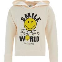 Defacto Kız Çocuk Smiley Lisanslı Crop Sweatshirt