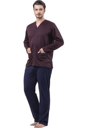 Çift Kaplan 8732 Cepli Önden Açık Erkek Pijama Takım