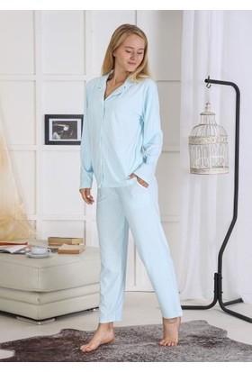 Pijamoni Çizgili Süet Pijama Takımı