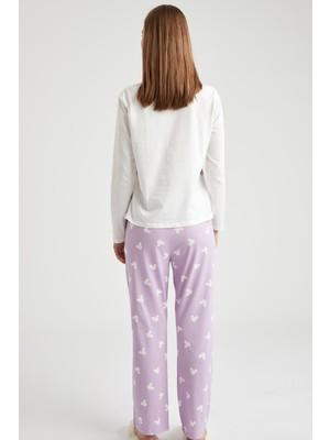 DeFacto Baskılı Uzun Kol Pijama Takımı S9929AZ20WN