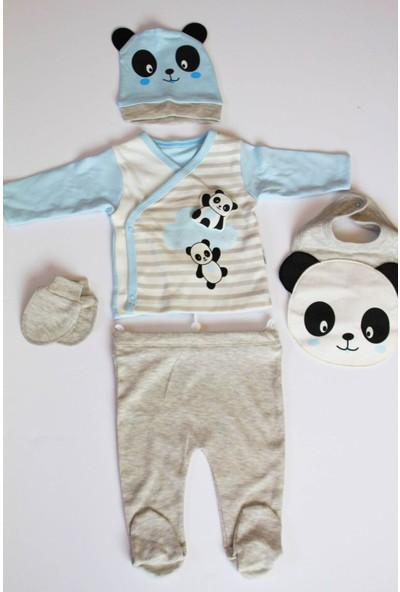 Sebi Bebe 1036 Erkek Bebek Pamuklu 5'li Hastane Çıkış Seti Zıbın Takımı