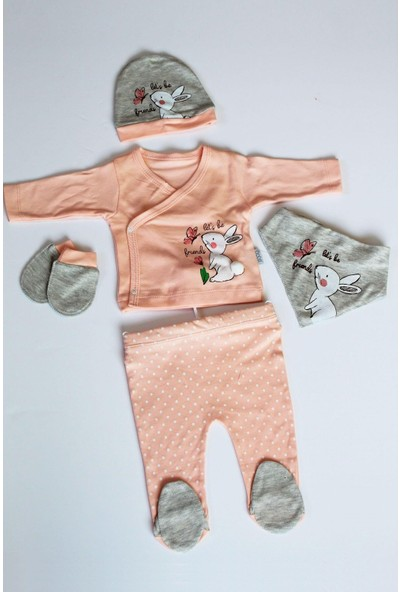 Sebi Bebe 1038 Kız Bebek Pamuklu 5'li Hastane Çıkış Seti Zıbın Takımı