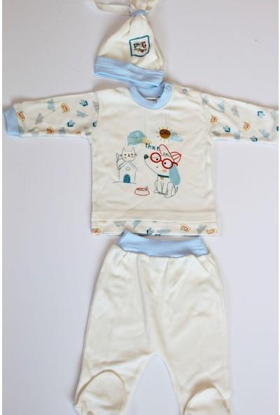 Sebi Bebe 3506 Erkek Bebek Pamuklu Mavi 3'lü Zıbın Takımı