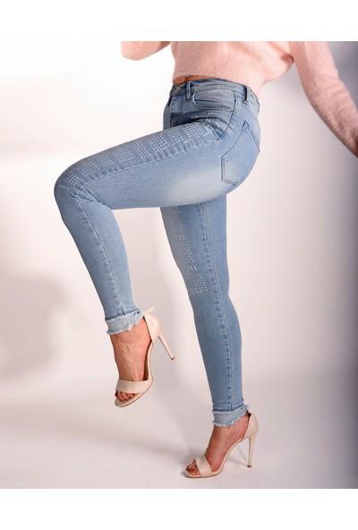 Hacher Woman Hacher Kadın Yüksek Bel Açık Mavi Full Likralı Jeans Çorap