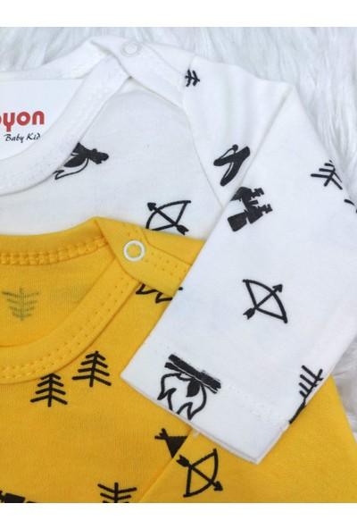 Papyon Baby Kids Kamp Desenli Erkek Bebek Uzun Kol 2'li Zıbın Çıtçıtlı Badi Set 0-36 Ay