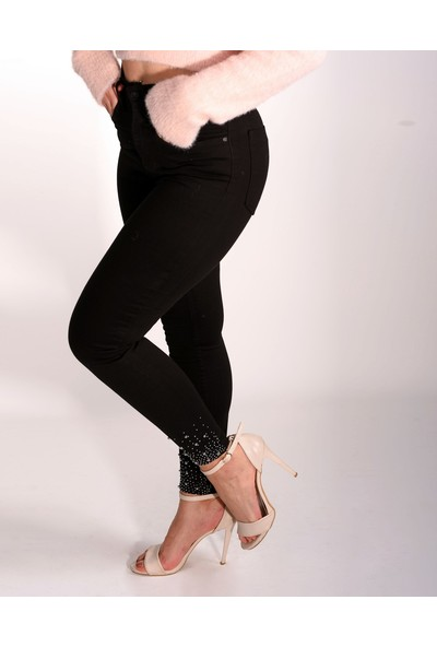 Babylon Kadın Yüksek Bel Siyah Likralı Taşlı Jeans Çorap Hediye
