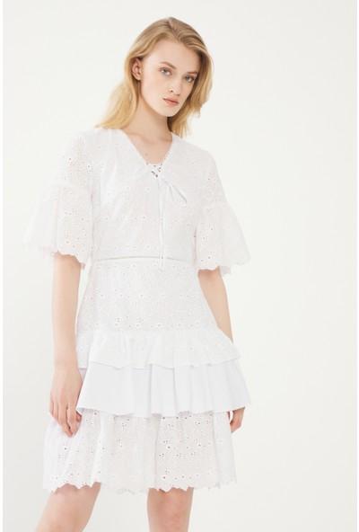 adL Kadın V Yaka Bağlamalı Elbise