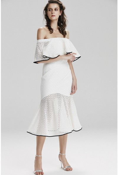 adL Kadın Volanlı Dantel Elbise