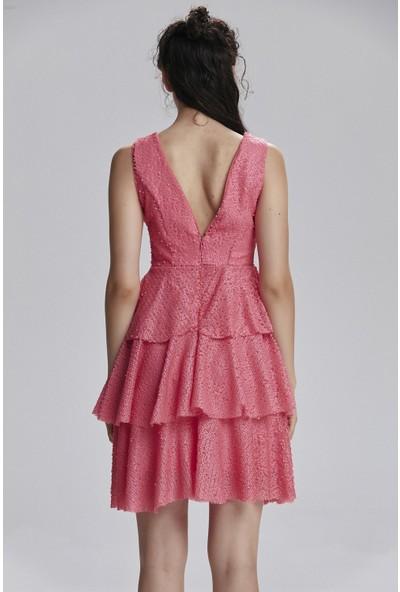 adL Kadın V Yaka Payet Elbise