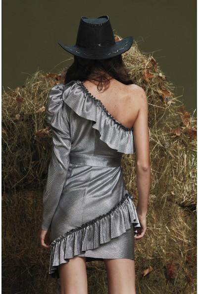 adL Kadın Tek Kol Fırfırlı Elbise