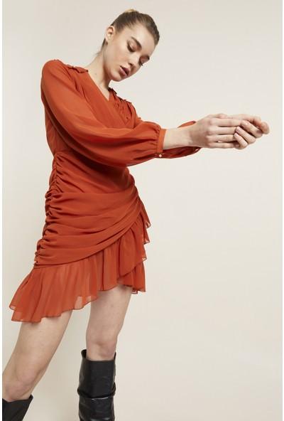 adL Kadın Drapeli Mini Şifon Elbise