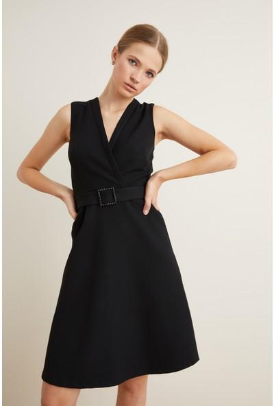 adL Kadın Beli Kemerli Kloş Elbise