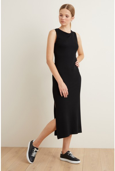 Adl Kadın Örme Kolsuz Yırtmaçlı Elbise
