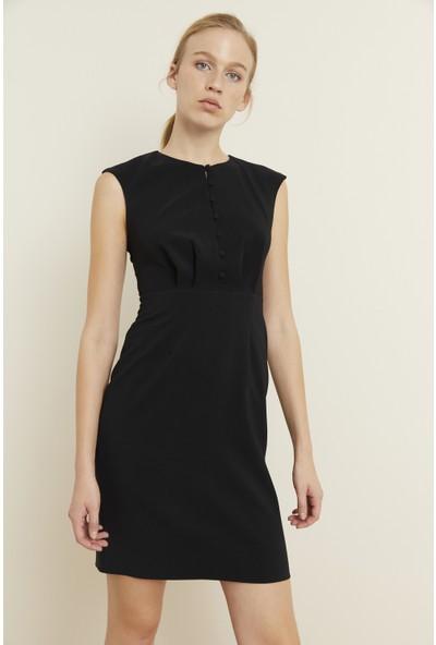 adL Kadın Önü Düğmeli Dar Elbise