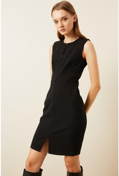 adL Kadın Önü Fermuarlı Dar Elbise