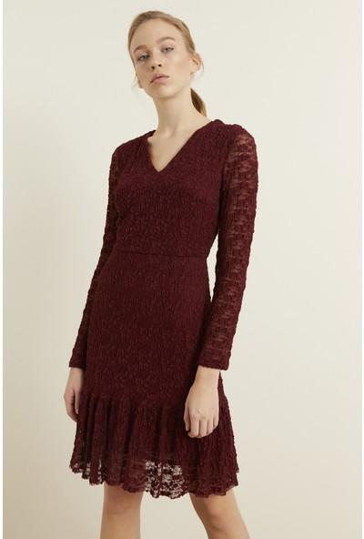 adL Kadın Eteği Volanlı Dantel Elbise
