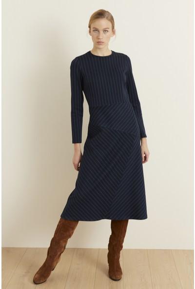 adL Kadın Uzun Kol Çizgili Elbise