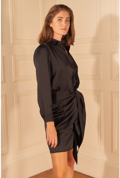 adL Kadın Saten Önü Bağlamalı Gömlek Elbise