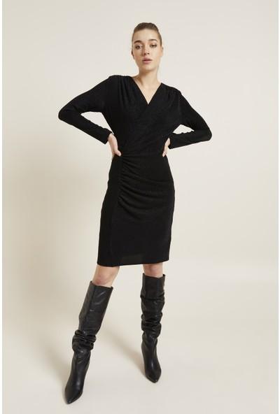 adL Kadın Drapeli Simli Örme Elbise