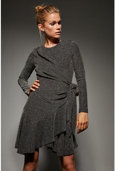 adL Kadın Volanlı Simli Örme Elbise