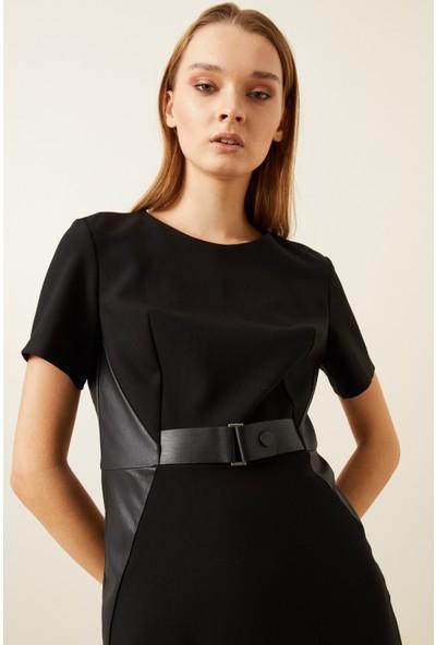 adL Kadın Kısa Kollu Deri Kemerli Elbise