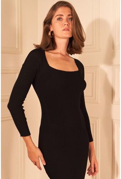 adL Kadın Kare Yaka Triko Elbise