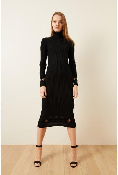 adL Kadın Yün Karışımlı Pencere Detaylı Triko Elbise