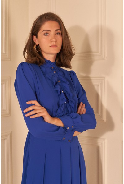 adL Kadın Kemerli Uzun Kol Şifon Elbise