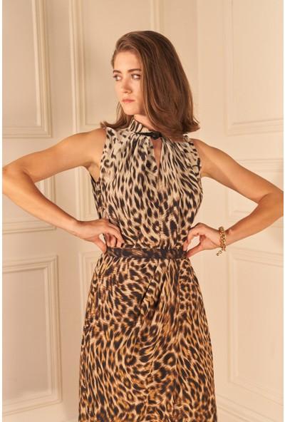 adL Kadın Kemerli Leopar Desenli Elbise