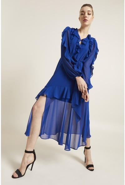 adL Kadın Volanlı Şifon Elbise