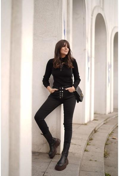 Love my body Kadın Önden Düğmeli Jean Pantolon