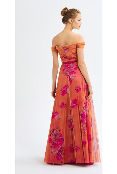 adL Kadın Büzgülü Tül Elbise
