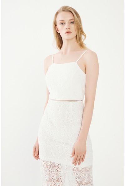 adL Kadın Diz Altı Dantel Elbise