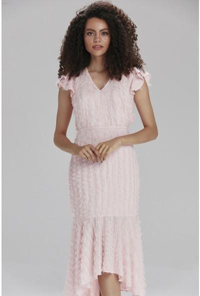 adL Kadın V Yaka Volanlı Elbise