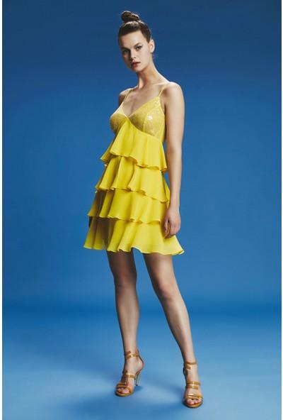 adL Kadın Ip Askılı Fırfırlıi Elbise