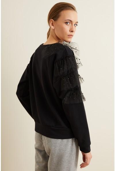 adL Kadın Tül Detaylı Incili Sweatshirt