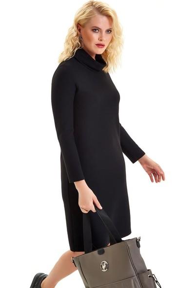 İkiler Degaje Yaka Eteği Çıtçıtlı Elbise 201-2517