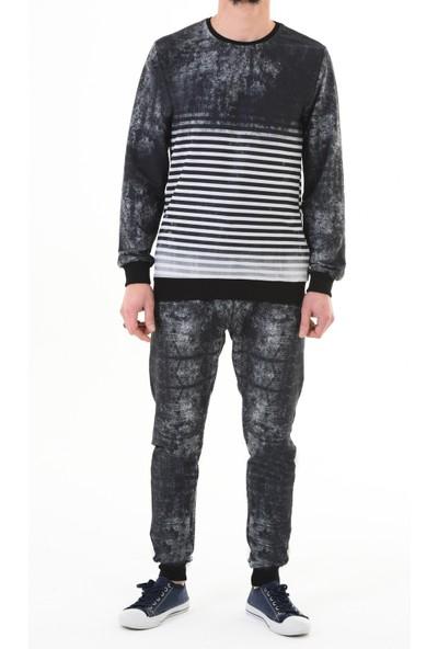 Black Steel Batik-Çizgi Dijital Baskılı Eşofman TAKIM-9076