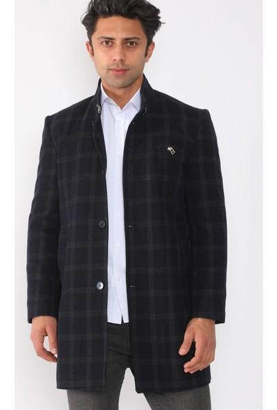 PLT8367 Dewberry Erkek Palto-Desenli Lacivert