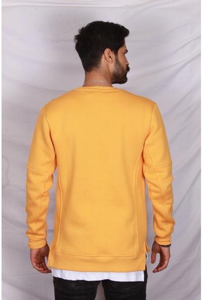 Erkek Hardal 3 Iplik Şardonlu Sweatshirt
