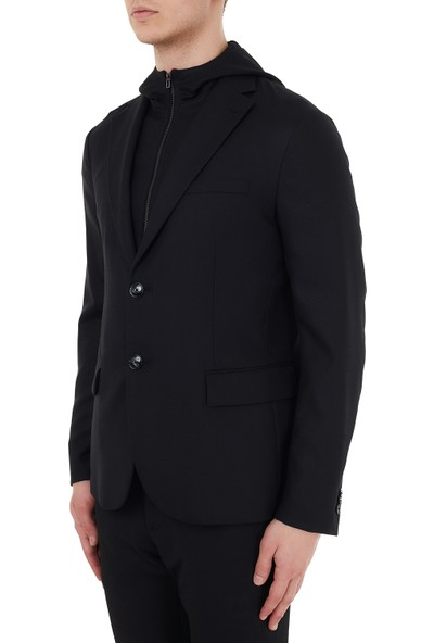 Emporio Armani Kapüşonlu % 100 Yün Ceket Erkek Ceket 6H1GQ7 1nrsz 0999 Siyah 52