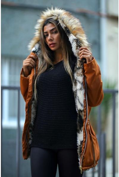 Keyifli Moda Kadın Kahverengi Su Geçirmez Içi Kürklü Kürk Kapüşonlu Mont