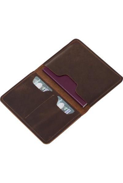 Bouletta PH02 Deri Pasaport Kılıf-Cüzdan G2 Kahve