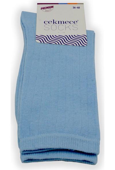 Çekmece Buz Mavisi Pamuklu Modern Çizgili Mevsimlik Kadın Soket Çorap