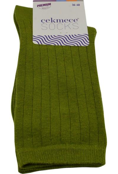 Çekmece Yeşil Pamuklu Modern Çizgili Mevsimlik Kadın Soket Çorap